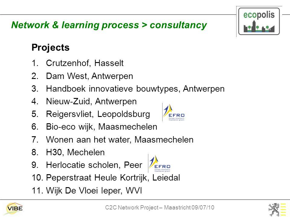 C2C Network Project – Maastricht 09/07/10 Projects 1.Crutzenhof, Hasselt 2.Dam West, Antwerpen 3.Handboek innovatieve bouwtypes, Antwerpen 4.Nieuw-Zuid, Antwerpen 5.Reigersvliet, Leopoldsburg 6.Bio-eco wijk, Maasmechelen 7.Wonen aan het water, Maasmechelen 8.H30, Mechelen 9.Herlocatie scholen, Peer 10.Peperstraat Heule Kortrijk, Leiedal 11.Wijk De Vloei Ieper, WVI Network & learning process > consultancy