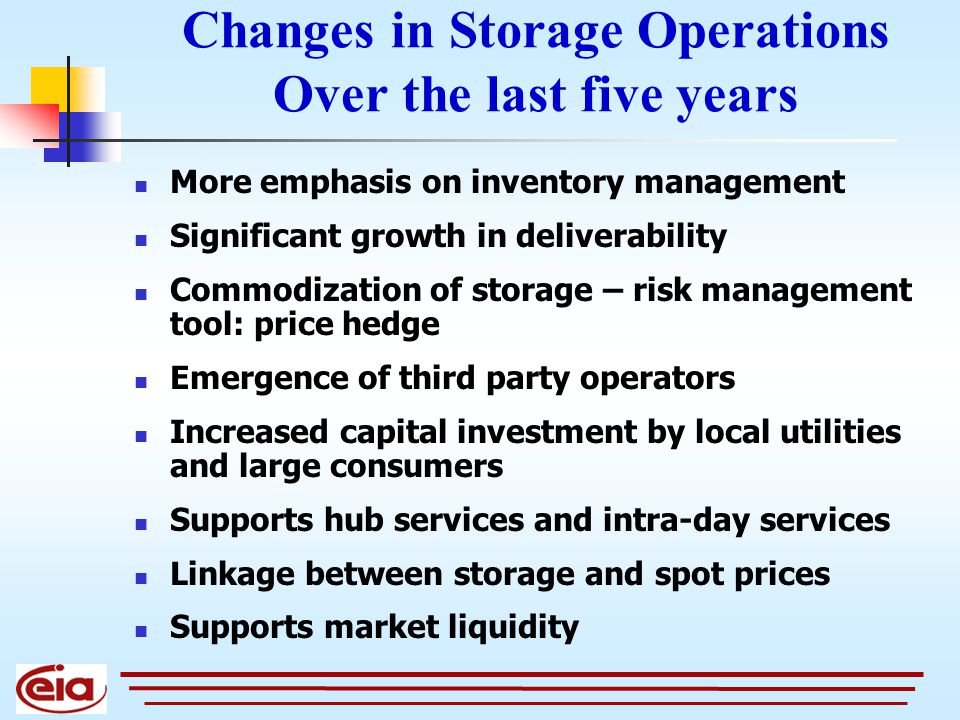 Changes in Storage Operations Over the last five years More emphasis on inventory management Significant growth in deliverability Commodization of storage – risk management tool: price hedge Emergence of third party operators Increased capital investment by local utilities and large consumers Supports hub services and intra-day services Linkage between storage and spot prices Supports market liquidity