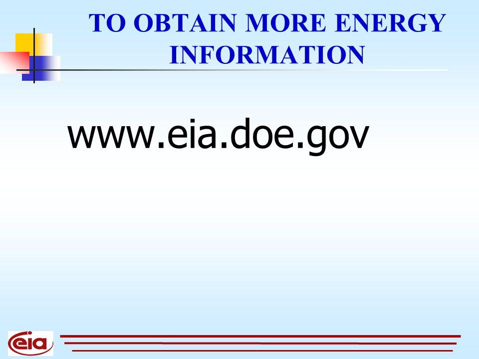 TO OBTAIN MORE ENERGY INFORMATION www.eia.doe.gov