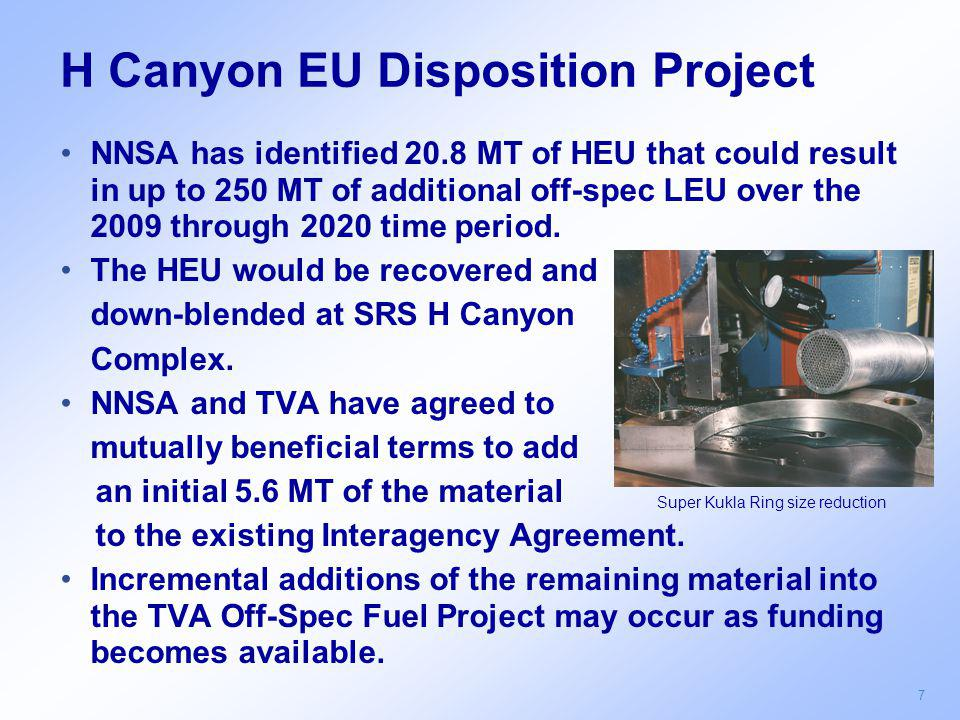 7 H Canyon EU Disposition Project NNSA has identified 20.8 MT of HEU that could result in up to 250 MT of additional off-spec LEU over the 2009 throug