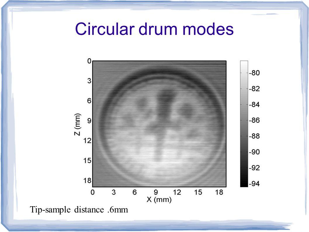 Circular drum modes Tip-sample distance.6mm