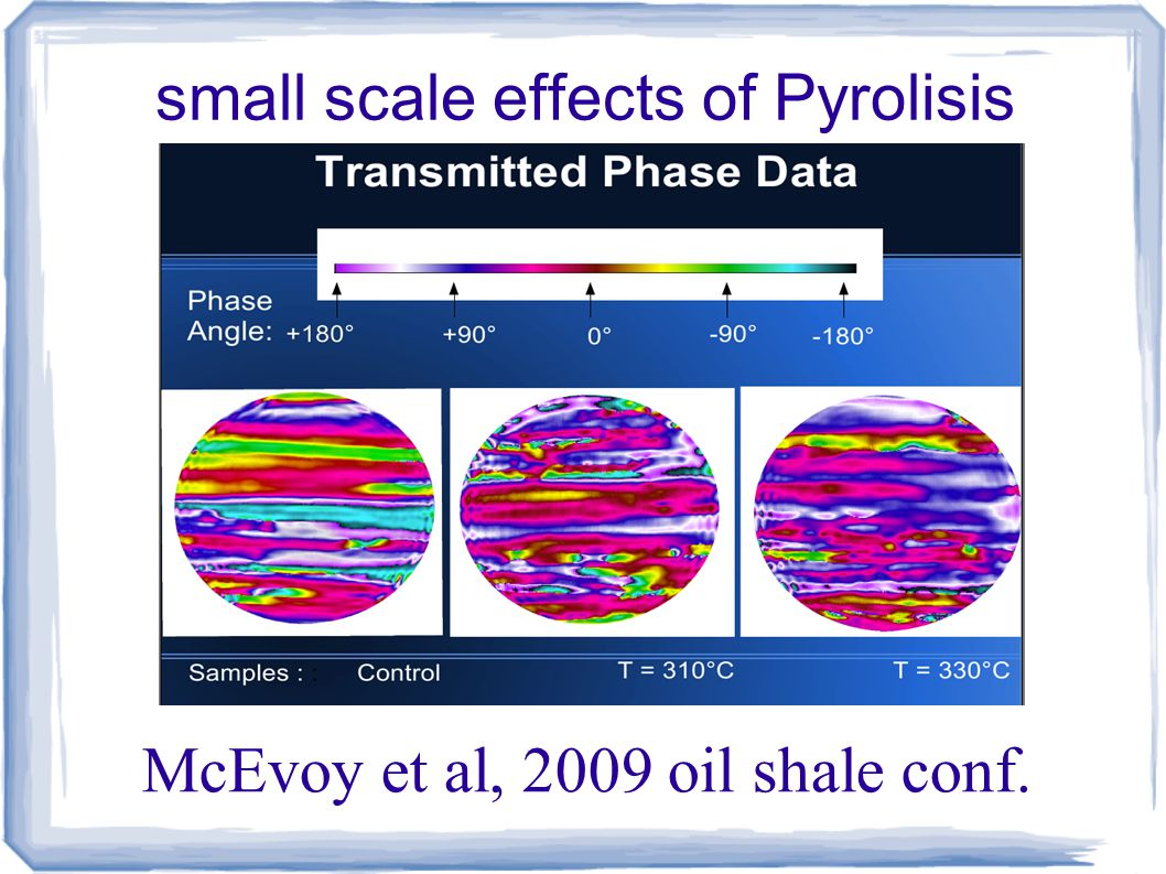 small scale effects of Pyrolisis McEvoy et al, 2009 oil shale conf.