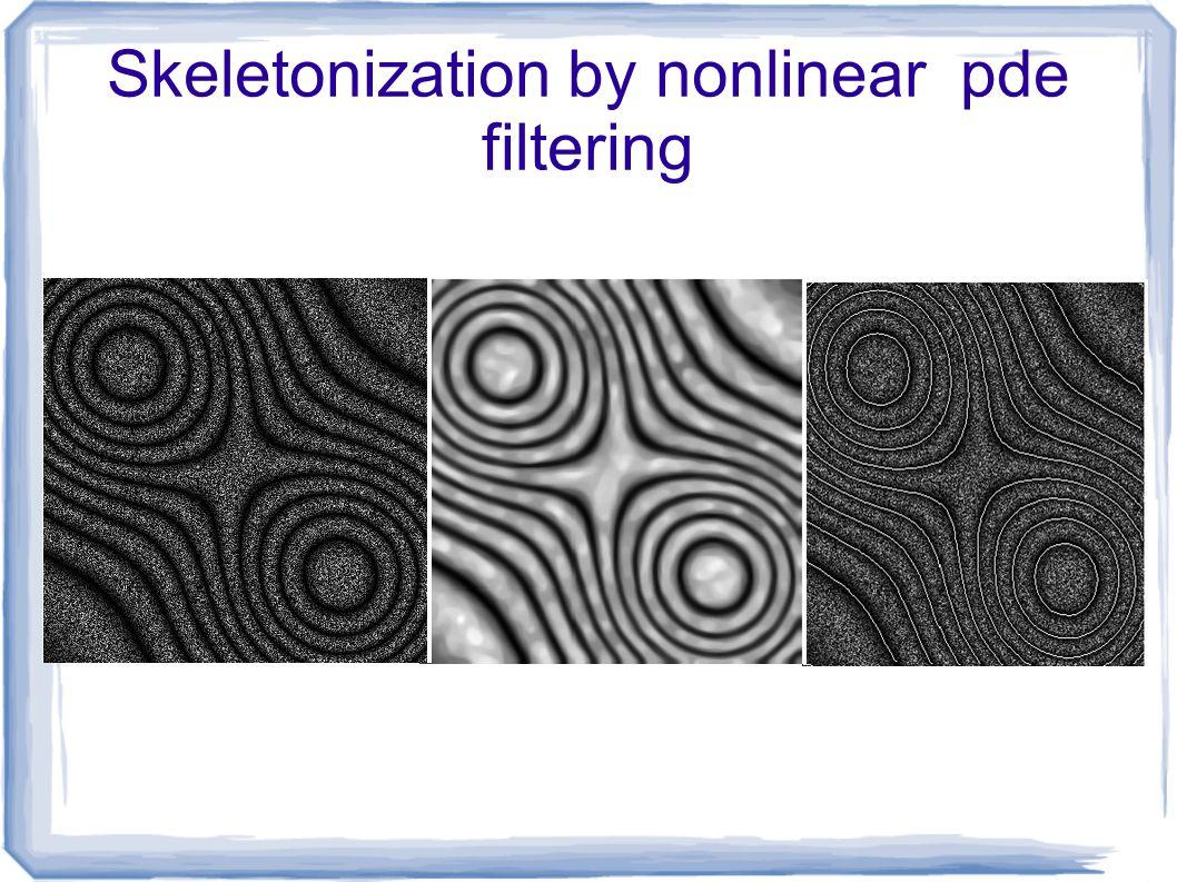 Skeletonization by nonlinear pde filtering