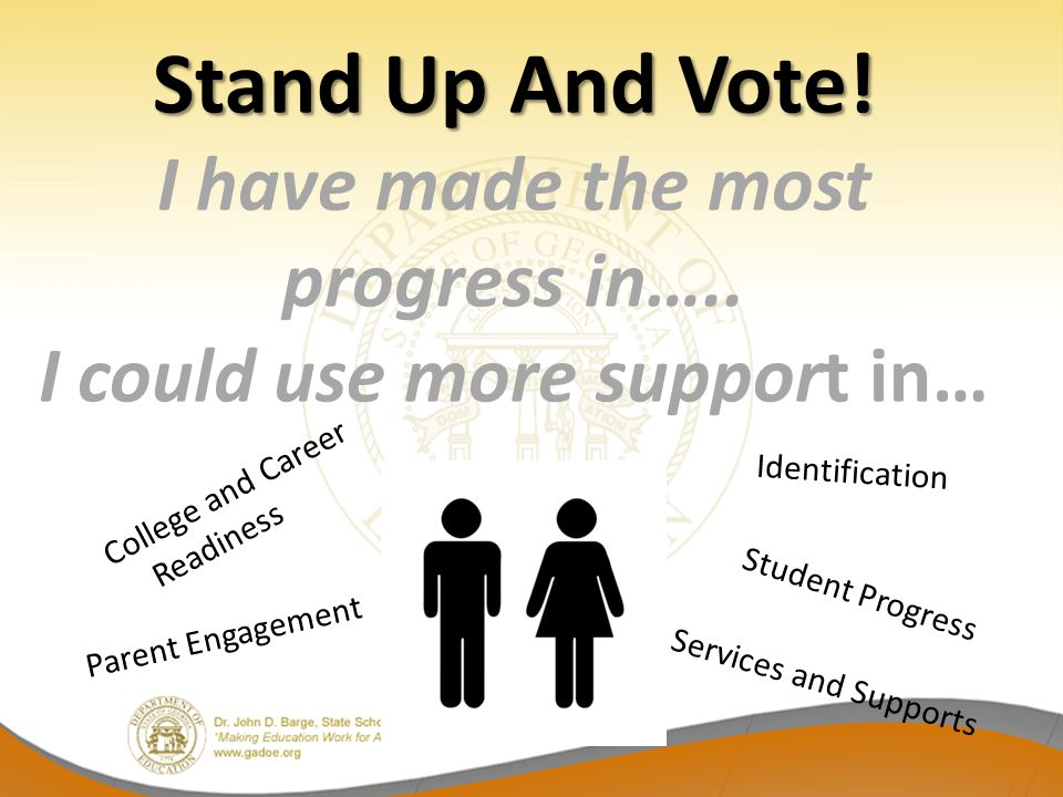 Stand Up And Vote! Stand Up And Vote! I have made the most progress in….. I could use more support in… College and Career Readiness Identification Ser