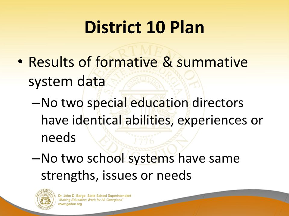 District 10 Plan Results of formative & summative system data – No two special education directors have identical abilities, experiences or needs – No
