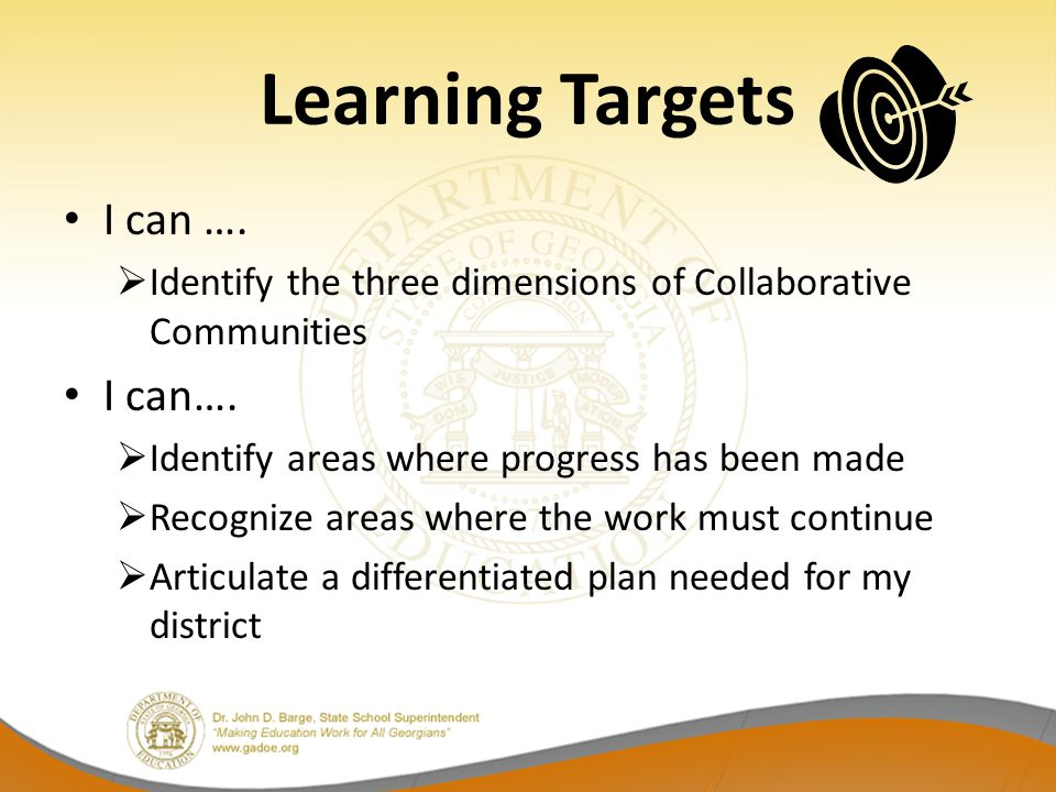 Learning Targets I can ….  Identify the three dimensions of Collaborative Communities I can….  Identify areas where progress has been made  Recogni