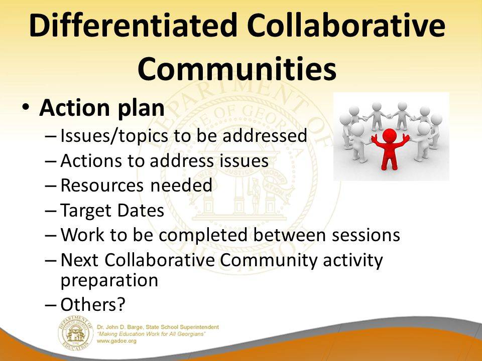 Differentiated Collaborative Communities Action plan – Issues/topics to be addressed – Actions to address issues – Resources needed – Target Dates – W