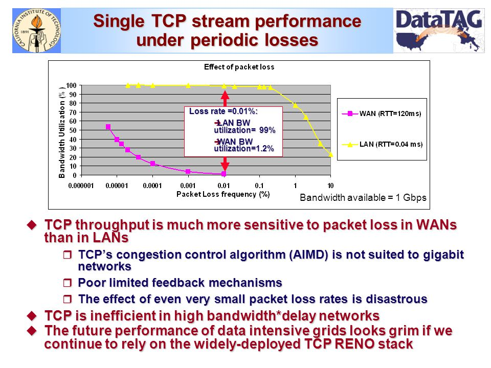 Single TCP stream performance under periodic losses Loss rate =0.01%: è LAN BW utilization= 99% è WAN BW utilization=1.2% Bandwidth available = 1 Gbps u TCP throughput is much more sensitive to packet loss in WANs than in LANs r TCP's congestion control algorithm (AIMD) is not suited to gigabit networks r Poor limited feedback mechanisms r The effect of even very small packet loss rates is disastrous u TCP is inefficient in high bandwidth*delay networks u The future performance of data intensive grids looks grim if we continue to rely on the widely-deployed TCP RENO stack