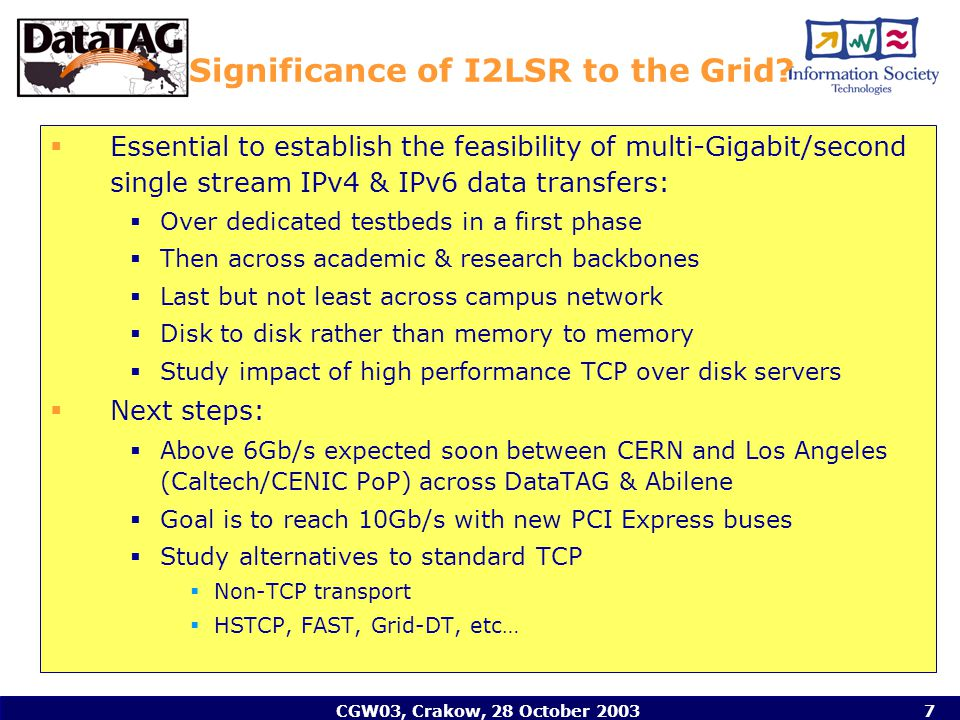 CGW03, Crakow, 28 October 20037 Significance of I2LSR to the Grid.