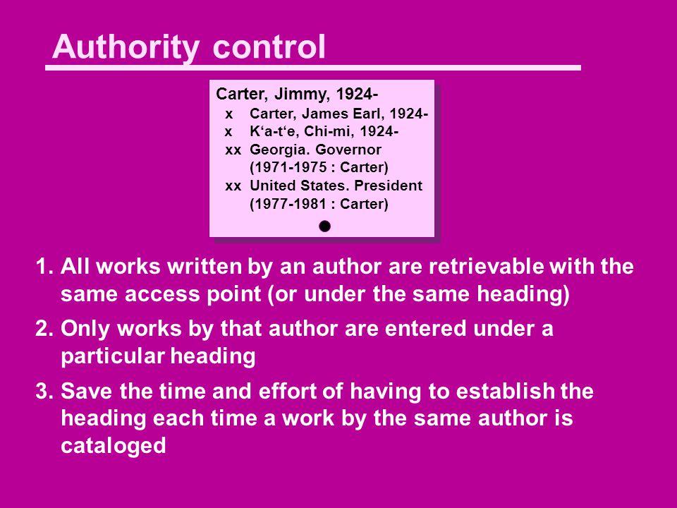 Authority control Carter, Jimmy, 1924- xCarter, James Earl, 1924- xK'a-t'e, Chi-mi, 1924- xx Georgia.