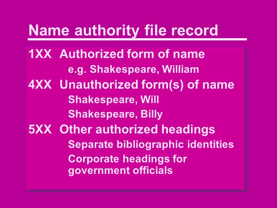 Name authority file record 1XXAuthorized form of name e.g.