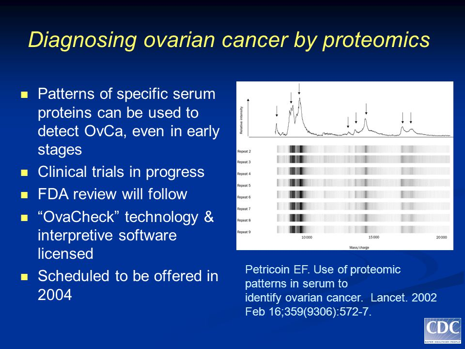 Diagnosing ovarian cancer by proteomics Patterns of specific serum proteins can be used to detect OvCa, even in early stages Clinical trials in progress FDA review will follow OvaCheck technology & interpretive software licensed Scheduled to be offered in 2004 Petricoin EF.