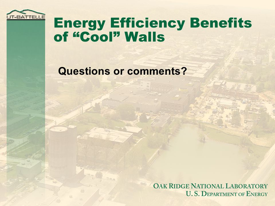Energy Efficiency Benefits of Cool Walls Questions or comments
