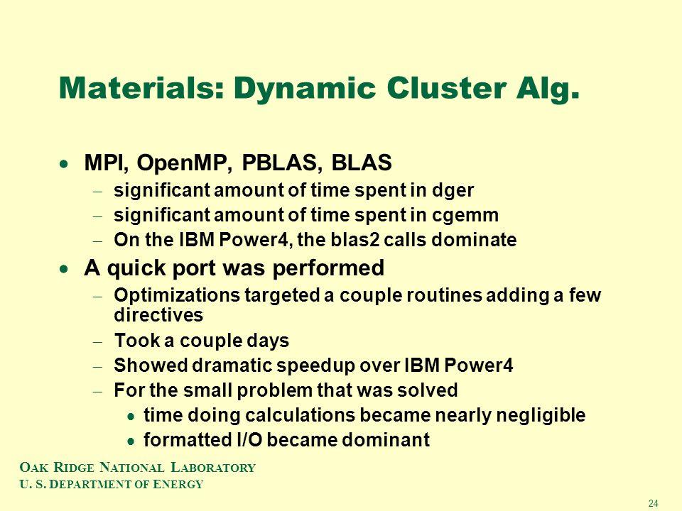 O AK R IDGE N ATIONAL L ABORATORY U. S. D EPARTMENT OF E NERGY 24 Materials: Dynamic Cluster Alg.