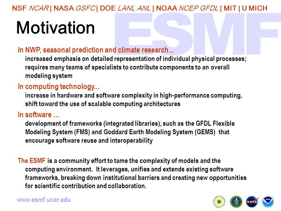 NSF NCAR | NASA GSFC | DOE LANL ANL | NOAA NCEP GFDL | MIT | U MICH www.esmf.ucar.edu Motivation In NWP, seasonal prediction and climate research...