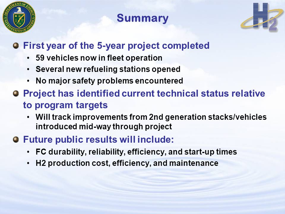 Summary First year of the 5-year project completed 59 vehicles now in fleet operation Several new refueling stations opened No major safety problems encountered Project has identified current technical status relative to program targets Will track improvements from 2nd generation stacks/vehicles introduced mid-way through project Future public results will include: FC durability, reliability, efficiency, and start-up times H2 production cost, efficiency, and maintenance
