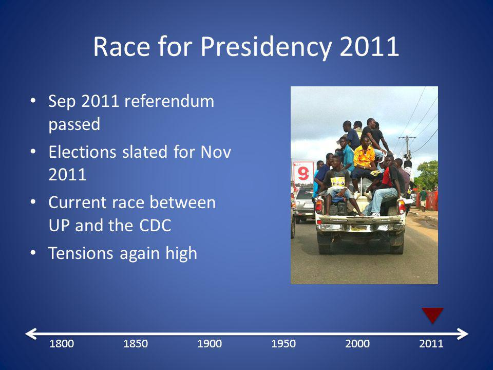 Race for Presidency 2011 Sep 2011 referendum passed Elections slated for Nov 2011 Current race between UP and the CDC Tensions again high 180018501900195020002011