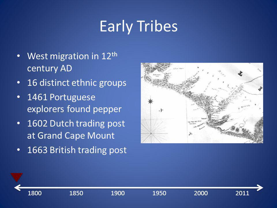 Early Tribes West migration in 12 th century AD 16 distinct ethnic groups 1461 Portuguese explorers found pepper 1602 Dutch trading post at Grand Cape Mount 1663 British trading post 180018501900195020002011