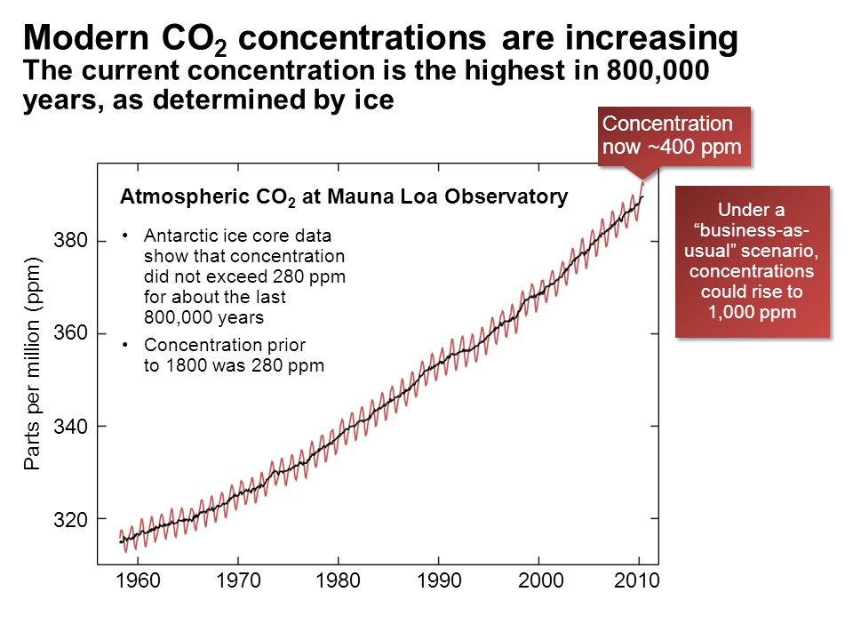 Atmospheric CO 2 at Mauna Loa Observatory Modern CO 2 concentrations are increasing The current concentration is the highest in 800,000 years, as determined by ice 196019701980199020002010 320 340 360 380 Parts per million (ppm) Concentration now ~400 ppm Antarctic ice core data show that concentration did not exceed 280 ppm for about the last 800,000 years Concentration prior to 1800 was 280 ppm Under a business-as- usual scenario, concentrations could rise to 1,000 ppm
