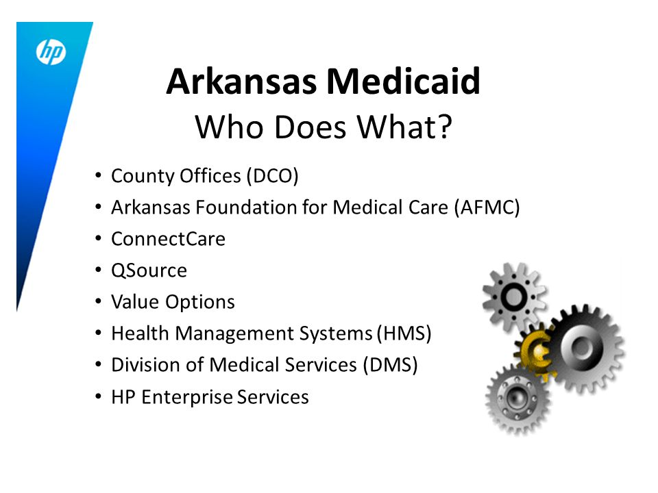 County Offices (DCO) Arkansas Foundation for Medical Care (AFMC) ConnectCare QSource Value Options Health Management Systems (HMS) Division of Medical Services (DMS) HP Enterprise Services Arkansas Medicaid Who Does What