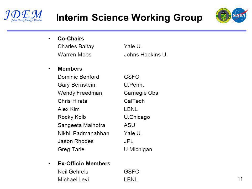 Interim Science Working Group Co-Chairs Charles BaltayYale U.