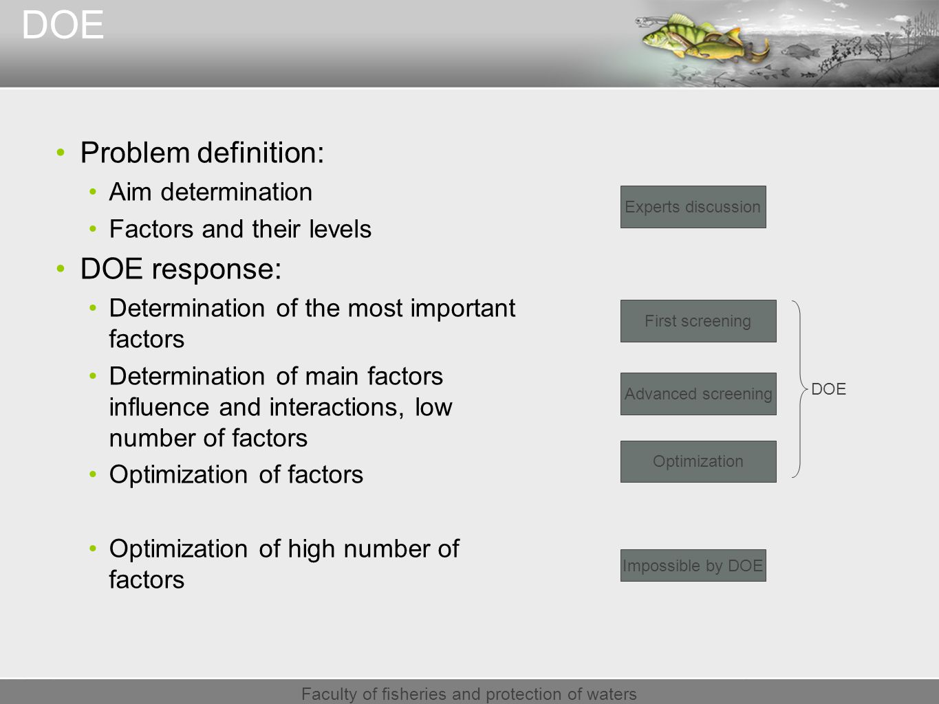Faculty of fisheries and protection of waters DOE Problem definition: Aim determination Factors and their levels DOE response: Determination of the most important factors Determination of main factors influence and interactions, low number of factors Optimization of factors Optimization of high number of factors Experts discussion Impossible by DOE First screening Advanced screening Optimization DOE
