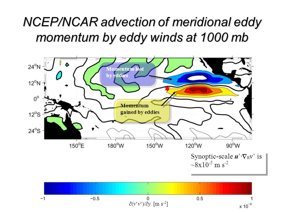 NCEP/NCAR meridional eddy advection by eddy winds at 1000 mb ∂(v'v')/∂y [m s -2 ] Synoptic-scale u'·  H v' is ~8x10 -5 m s -2 NCEP/NCAR advection of meridional eddy momentum by eddy winds at 1000 mb Momentum gained by eddies Momentum lost by eddies