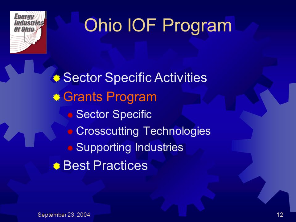 September 23, 200412  Sector Specific Activities  Grants Program  Sector Specific  Crosscutting Technologies  Supporting Industries  Best Practices Ohio IOF Program