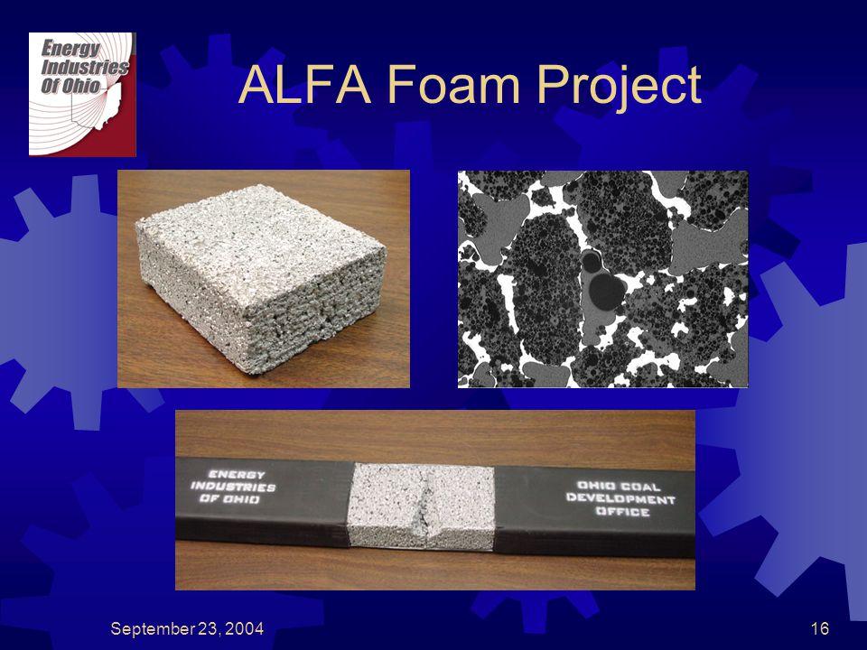 September 23, 200416 ALFA Foam Project