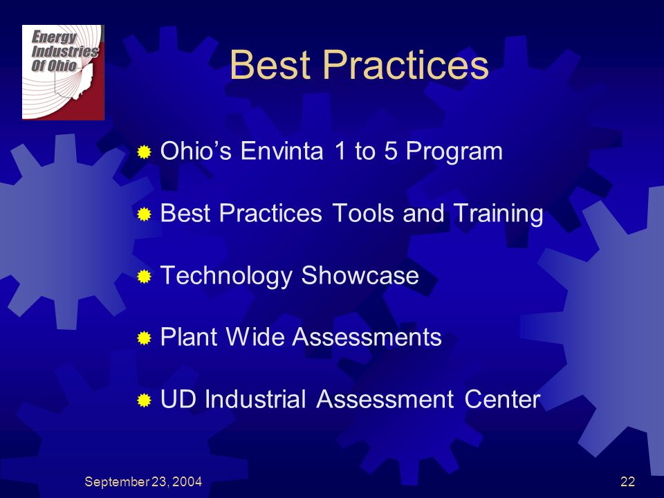 September 23, 200422 Best Practices  Ohio's Envinta 1 to 5 Program  Best Practices Tools and Training  Technology Showcase  Plant Wide Assessments  UD Industrial Assessment Center