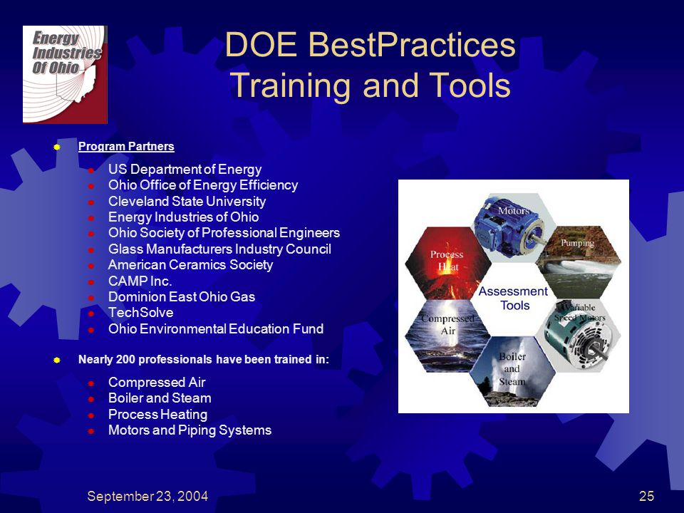 September 23, 200425 DOE BestPractices Training and Tools  Program Partners  US Department of Energy  Ohio Office of Energy Efficiency  Cleveland State University  Energy Industries of Ohio  Ohio Society of Professional Engineers  Glass Manufacturers Industry Council  American Ceramics Society  CAMP Inc.