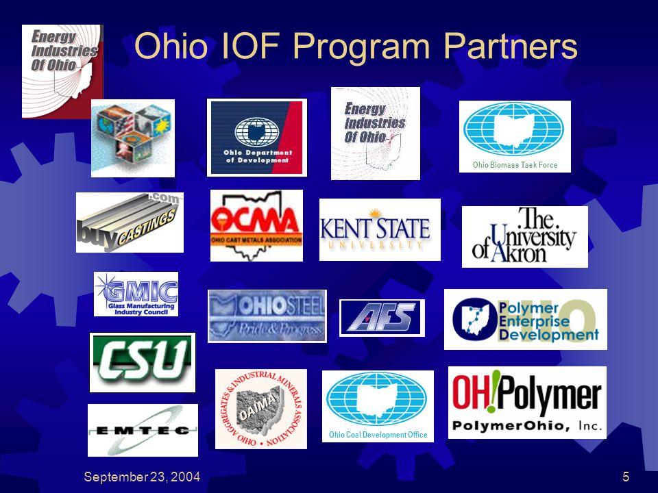 September 23, 20045 Ohio IOF Program Partners Ohio Coal Development OfficeOhio Biomass Task Force