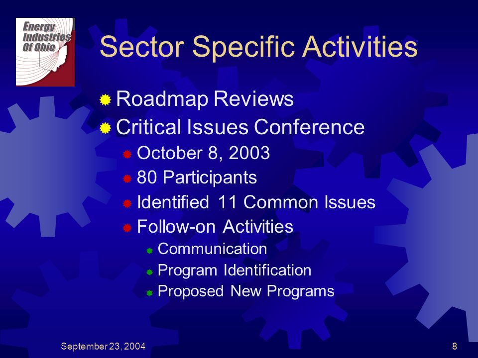 September 23, 20048 Sector Specific Activities  Roadmap Reviews  Critical Issues Conference  October 8, 2003  80 Participants  Identified 11 Common Issues  Follow-on Activities  Communication  Program Identification  Proposed New Programs
