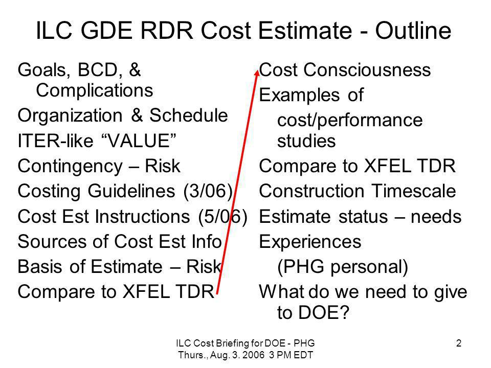 ILC Cost Briefing for DOE - PHG Thurs., Aug. 3. 2006 3 PM EDT 2 ILC GDE RDR Cost Estimate - Outline Goals, BCD, & Complications Organization & Schedul