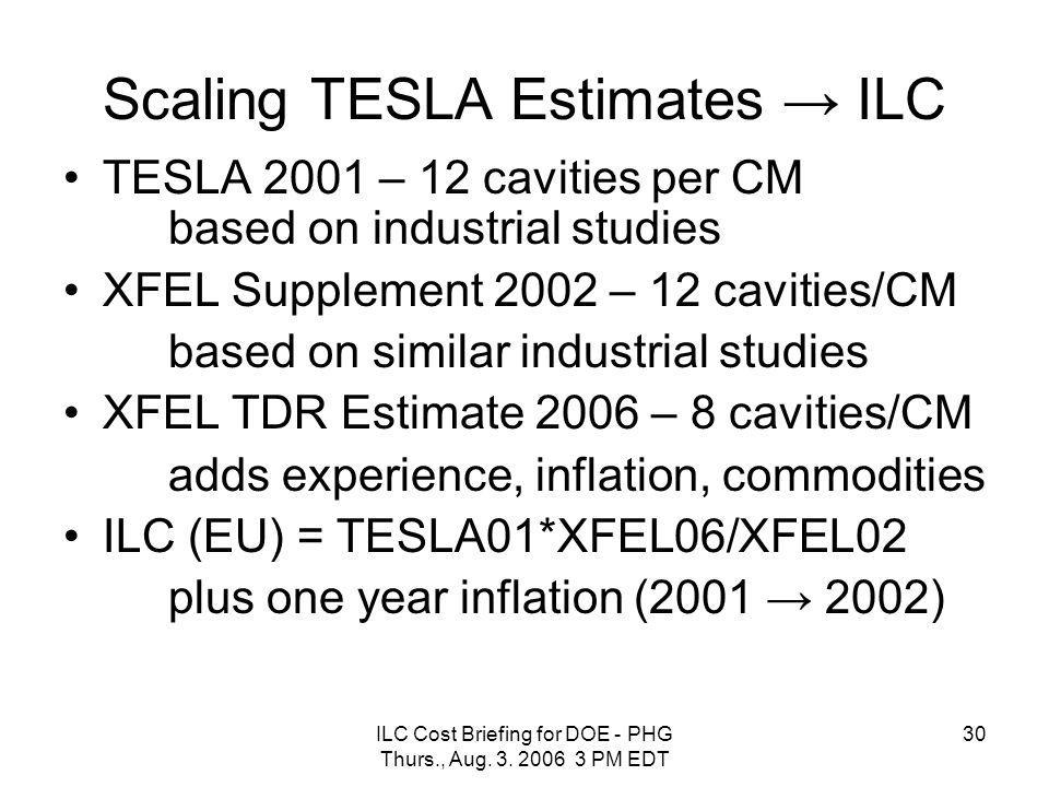 ILC Cost Briefing for DOE - PHG Thurs., Aug. 3. 2006 3 PM EDT 30 Scaling TESLA Estimates → ILC TESLA 2001 – 12 cavities per CM based on industrial stu