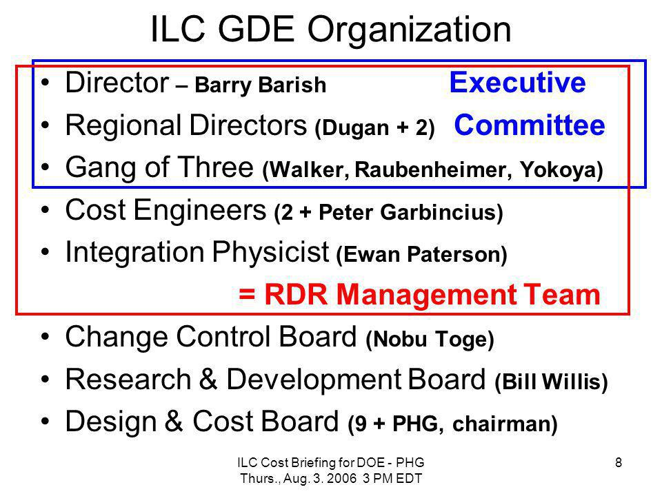 8 ILC GDE Organization Director – Barry Barish Executive Regional Directors (Dugan + 2) Committee Gang of Three (Walker, Raubenheimer, Yokoya) Cost En