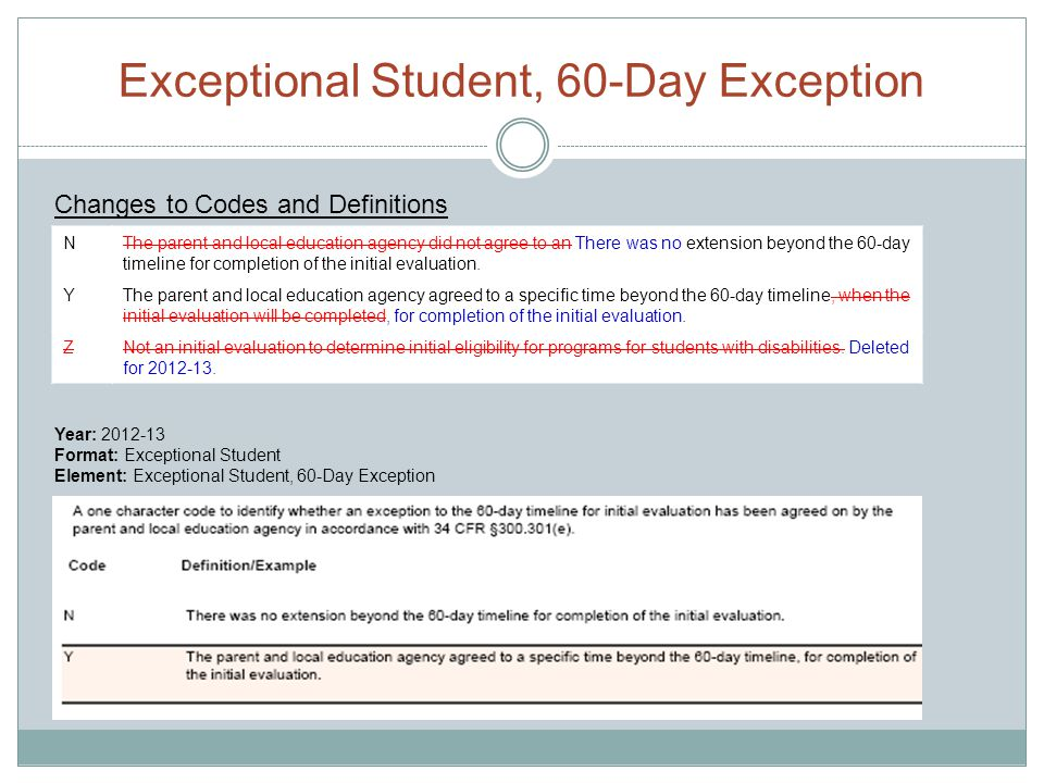 Exceptional Student, 60-Day Exception NThe parent and local education agency did not agree to an There was no extension beyond the 60-day timeline for