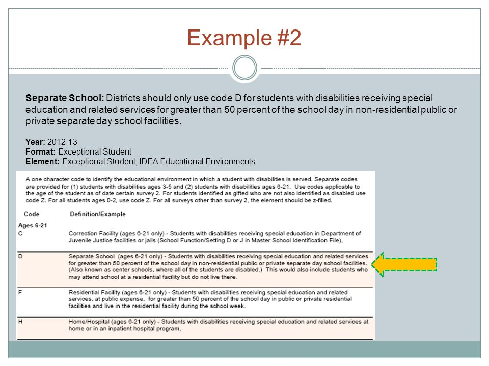 Example #2 Year: 2012-13 Format: Exceptional Student Element: Exceptional Student, IDEA Educational Environments Separate School: Districts should onl