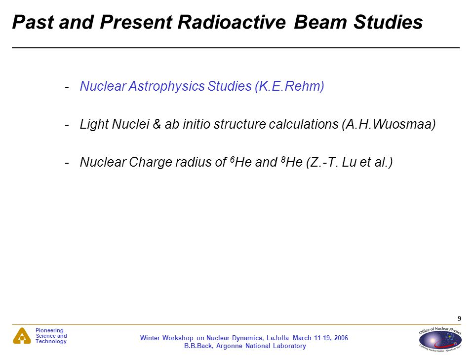 Pioneering Science and Technology Winter Workshop on Nuclear Dynamics, LaJolla March 11-19, 2006 B.B.Back, Argonne National Laboratory 9 Past and Pres