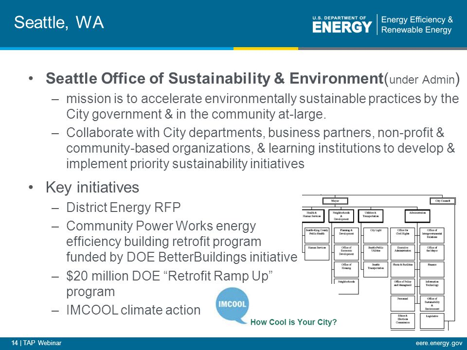 14 | TAP Webinareere.energy.gov Seattle, WA Seattle Office of Sustainability & Environment( under Admin ) –mission is to accelerate environmentally sustainable practices by the City government & in the community at-large.