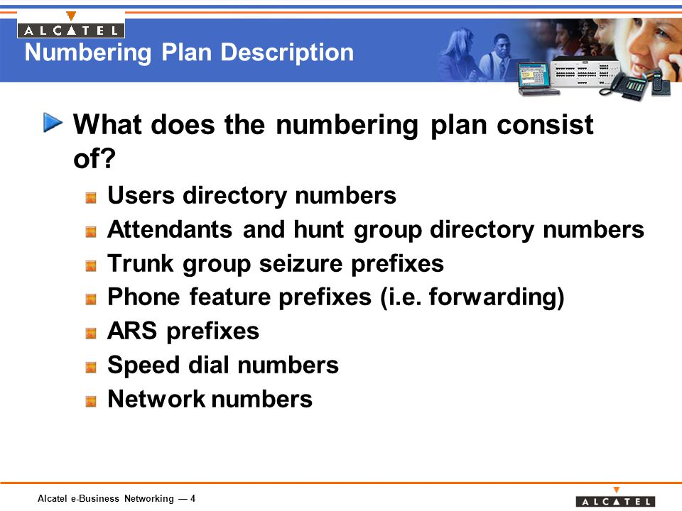 Alcatel e-Business Networking — 4 Numbering Plan Description What does the numbering plan consist of.