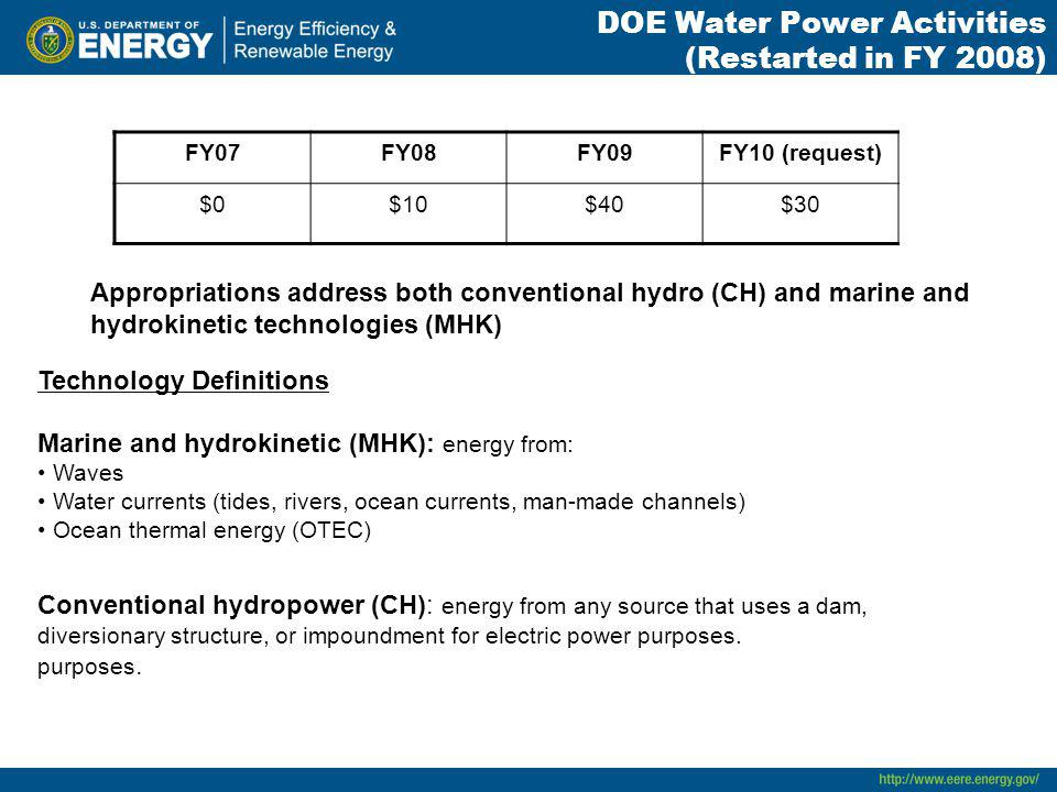DOE Water Power Activities (Restarted in FY 2008) FY07FY08FY09FY10 (request) $0$10$40$30 Appropriations address both conventional hydro (CH) and marine and hydrokinetic technologies (MHK) Technology Definitions Marine and hydrokinetic (MHK): energy from: Waves Water currents (tides, rivers, ocean currents, man-made channels) Ocean thermal energy (OTEC) Conventional hydropower (CH): energy from any source that uses a dam, diversionary structure, or impoundment for electric power purposes.