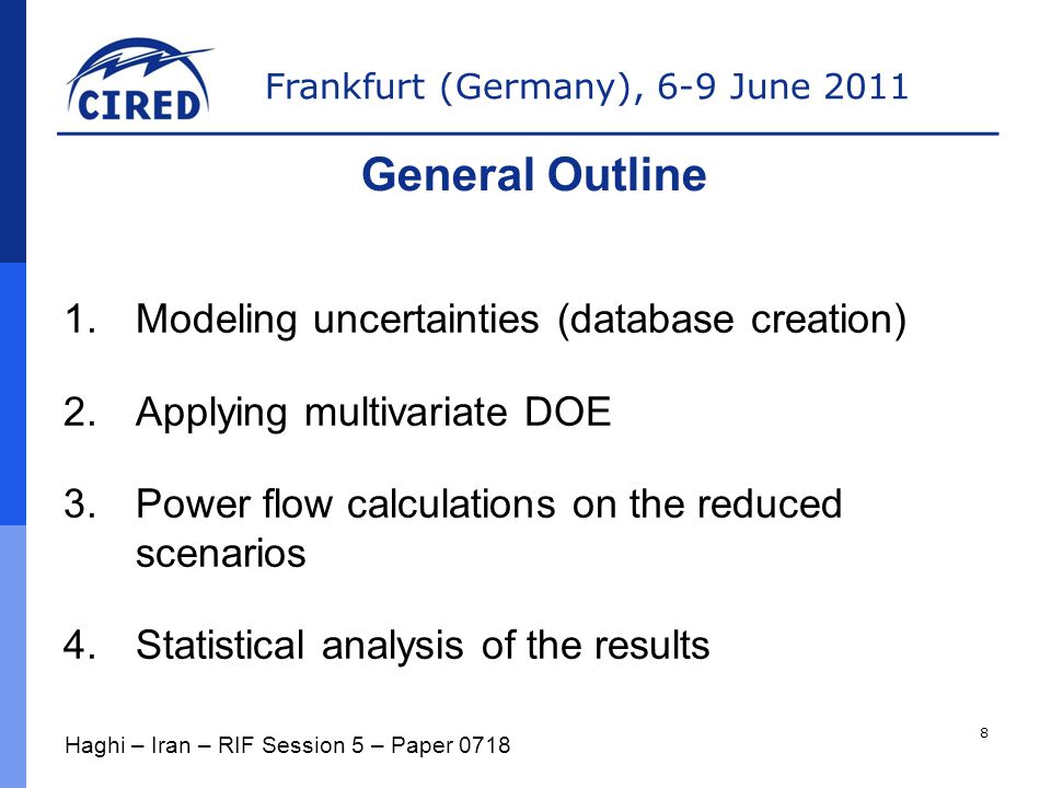 Frankfurt (Germany), 6-9 June 2011 1.Modeling uncertainties (database creation) 2.Applying multivariate DOE 3.Power flow calculations on the reduced scenarios 4.Statistical analysis of the results General Outline Haghi – Iran – RIF Session 5 – Paper 0718 8