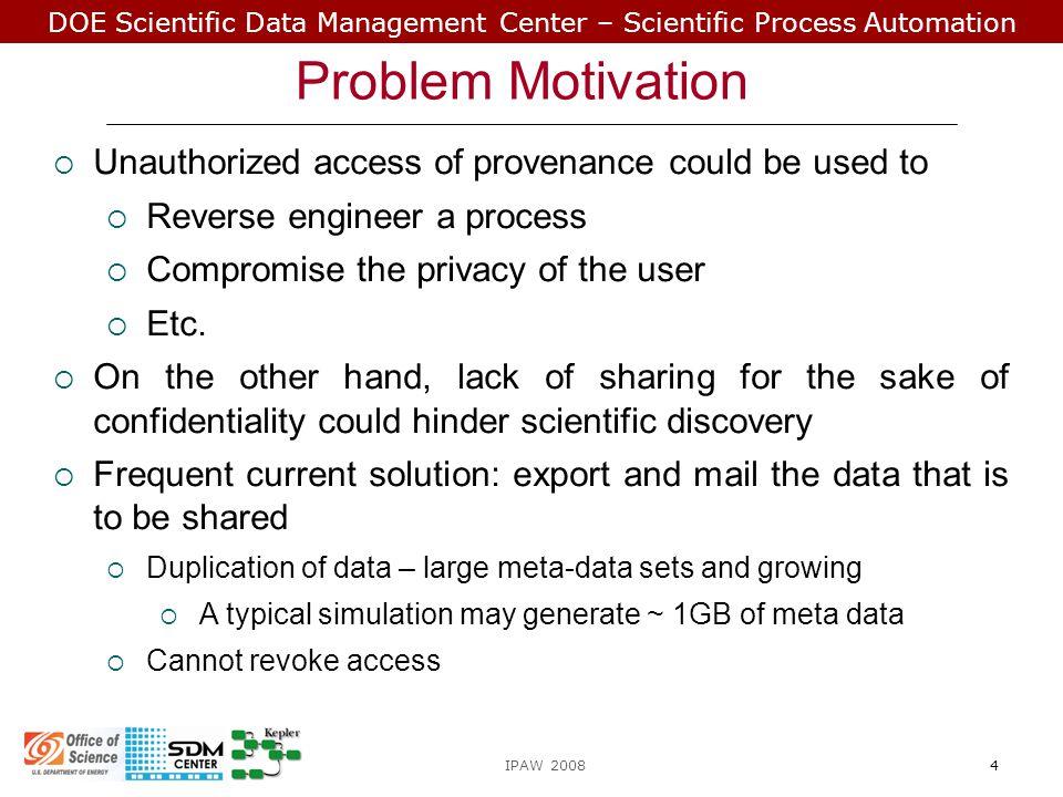 DOE Scientific Data Management Center – Scientific Process Automation Scenario: Sharing Provenance A B C R1R1 R2R2 S11S11 S12S12 S21S21 R3R3 S31S31 S32S32 S33S33 IPAW 20085