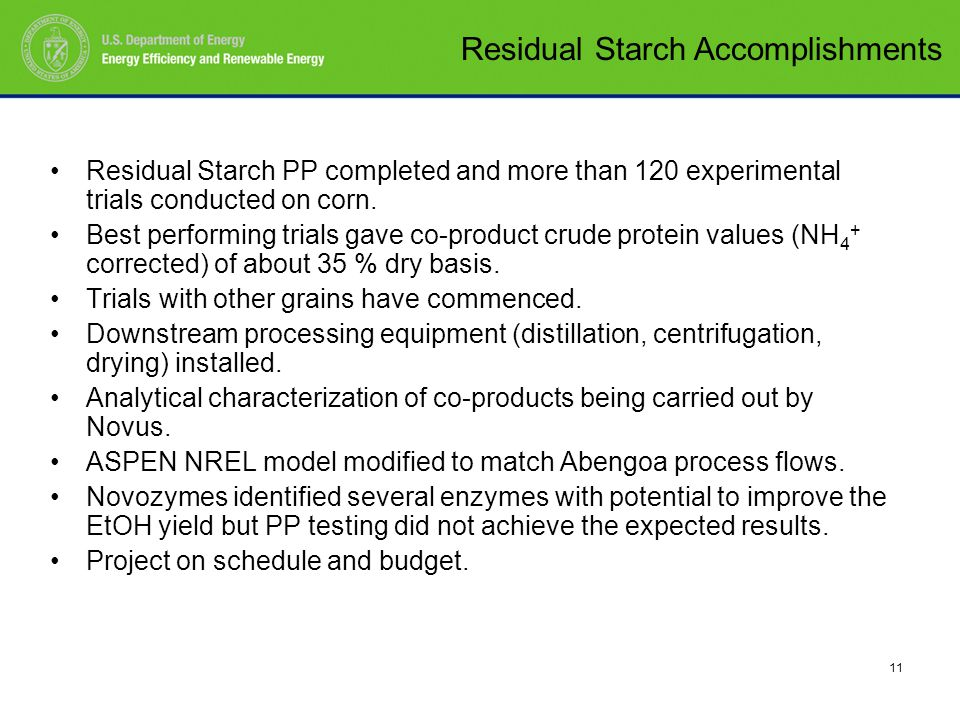 11 Residual Starch PP completed and more than 120 experimental trials conducted on corn.