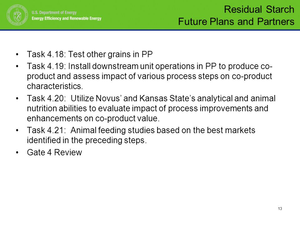 13 Task 4.18: Test other grains in PP Task 4.19: Install downstream unit operations in PP to produce co- product and assess impact of various process steps on co-product characteristics.