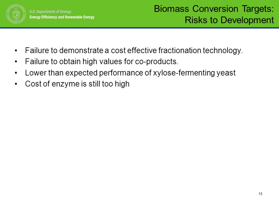 15 Failure to demonstrate a cost effective fractionation technology.