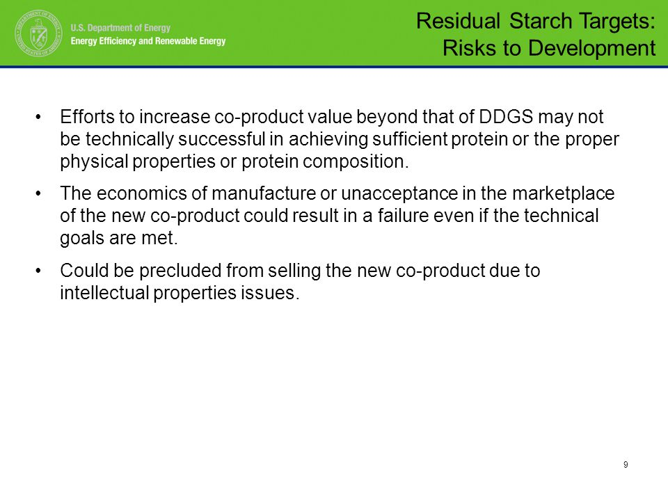 9 Efforts to increase co-product value beyond that of DDGS may not be technically successful in achieving sufficient protein or the proper physical properties or protein composition.