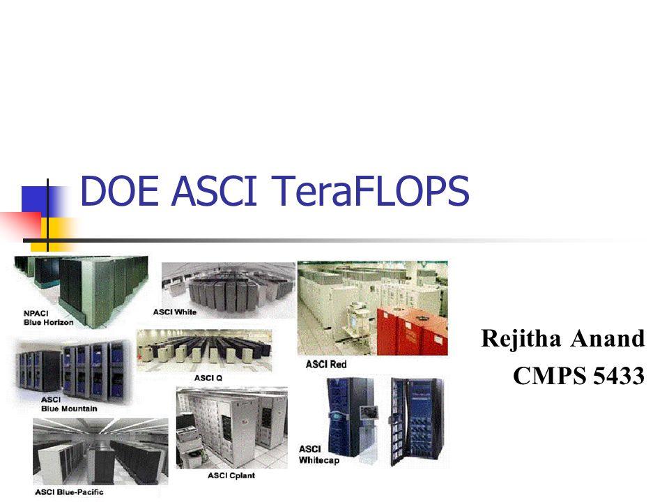 DOE ASCI TeraFLOPS Rejitha Anand CMPS 5433