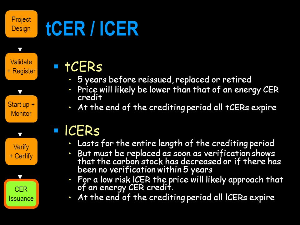 tCER / lCER  tCERs 5 years before reissued, replaced or retired Price will likely be lower than that of an energy CER credit At the end of the crediting period all tCERs expire  lCERs Lasts for the entire length of the crediting period But must be replaced as soon as verification shows that the carbon stock has decreased or if there has been no verification within 5 years For a low risk lCER the price will likely approach that of an energy CER credit.